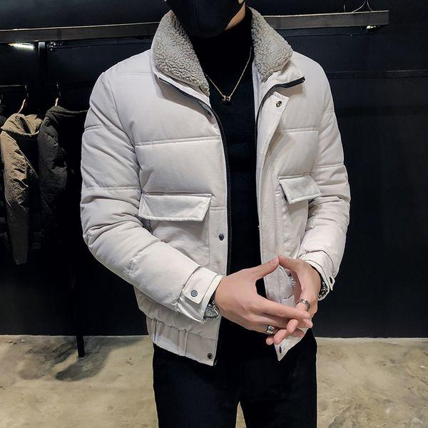 Lapela homens de algodão versão coreana da tendência considerável de algodão jaqueta 2019 novo casaco de inverno quente de espessura roupas