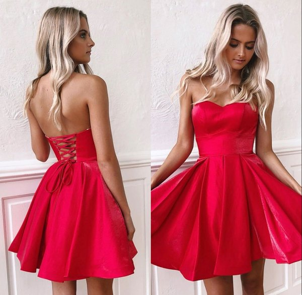 Red Lace up Back Homecoming Vestidos Chicas Short Party Dress Sweetheart Neck Cocktail Mini Skirt BM0940