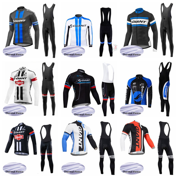 GIANT team Cycling Winter Thermal Fleece jersey (bib) pants sets 100% Polyeste mens long Sleeves Cycling Clothing Clothes Q62402