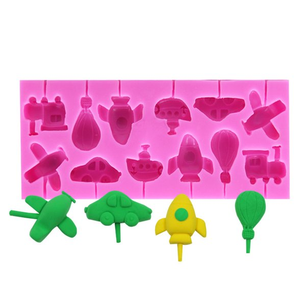 Car Transport Aircraft Ship Cough Lollipop Silicone Mold Chocolate Cake Decoration Mold