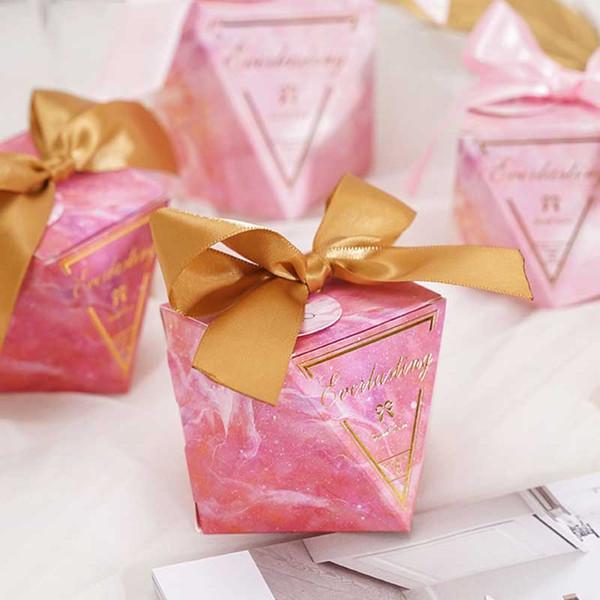 Yeni Elmas Şekli Bebek Duş Şeker Kutusu Düğün Iyilik ve Hediyeler Kutuları Konuklar için Doğum Günü Partisi Dekorasyon