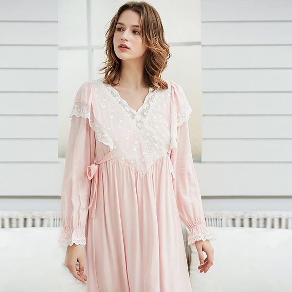 Дворянка Nightgown Vintage Lace Хлопок Nightgown Женщины Элегантные белые пижамы платья с длинными рукавами Nightdress Pink Ladies