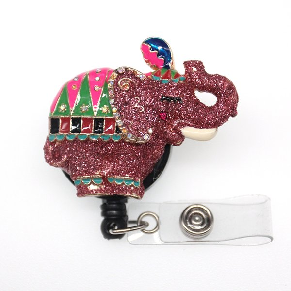 20pcs/lot New Pink Glitter Multicolor Elephant Name Card Badge Reel Cheap Retractable ID Badge Clips Holder