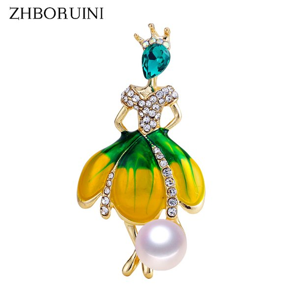 ZHBORUINI 2019 New Pearl Brooch Dancing Girl Pearl Breastpin Natural Freshwater Jewelry For Women High Quality Gift Pin