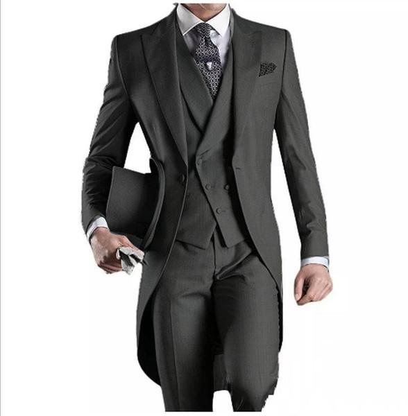 Custom Made Groom Tuxedos Groomsmen Morning Style Best man Peak Lapel Groomsman Men's Wedding Suits (Jacket+Pants+Tie+Vest)