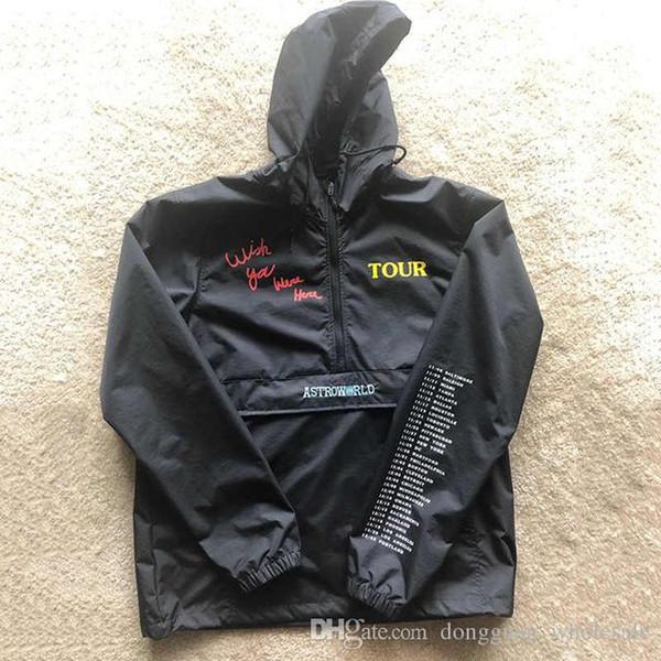 Stickerei Travis Scott AstroWorld Jacken Damen Herren 1a: 1 Travis Scott AstroWorld Jacken 2019 Neu Regenfester Windbreaker Mantel