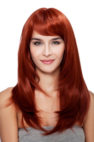 New Popular Women Long Red Oblique Bangs Straight Kanekalon Heat Resistant Cosplay Party Hair Full Wig Wigs