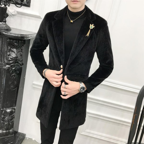 Luxury Mens Long Coats Black Velvet Long Trench Coat Mens Wool Coats Gentleman Jackets Slim Fit Elegant Abrigos Hombre Blue