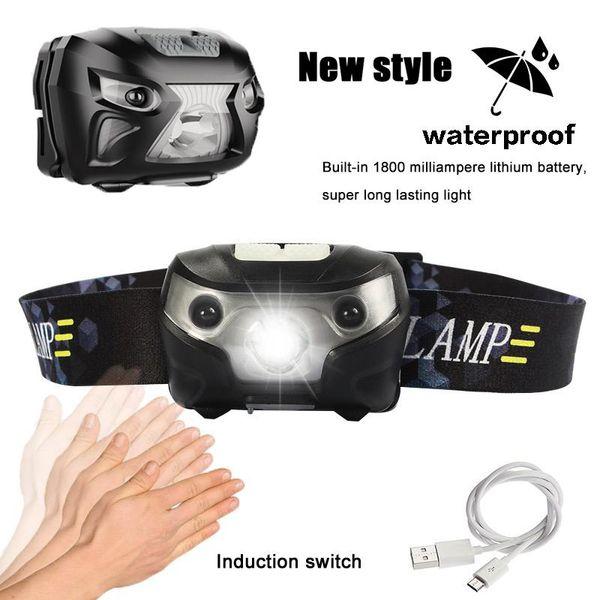 3000LM Mini torcia ricaricabile a LED Sensore di movimento corporeo LED Torcia per bicicletta Lampada da campeggio Torcia da esterno con USB