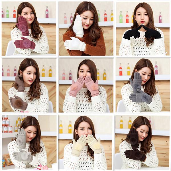 Damen Wolle Warm Knit Gloves Touchscreen süße Winterhandschuhe Mädchen Süßigkeiten Farbe Handschuhe Handwärmer Doppelschicht schwarz rosa