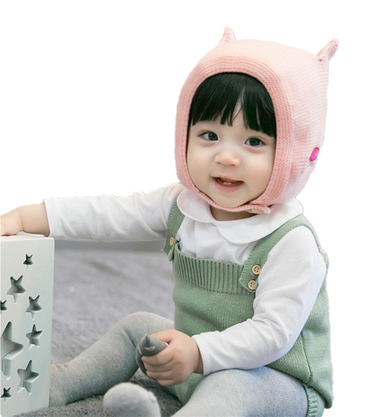 winter hat for baby girls boys Knitted Hat for Babies with Earflap 0-2T cute cat beanie cap