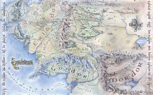 Карта Средиземья искусство шелк печати плакат 24x36inch (60x90cm) 083