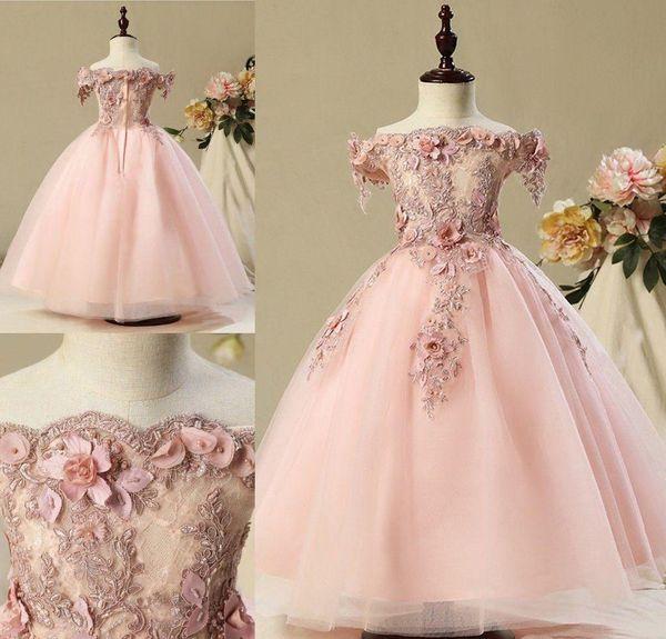 Erröten Sie Rosa reizende nette Blumenmädchen-Kleider 2019 Weinlese-Prinzessin-Tochter-Kleinkind-hübsche Kinder-Festzug