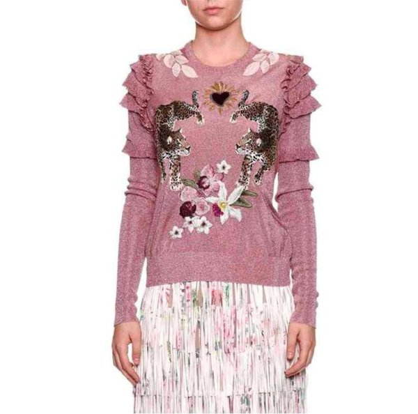 Fashion Christmas Animal Embroidery Pink Knitted Sweaters Pullovers Women Runway Design Ruffle Elegant Clothes Lady Jumper