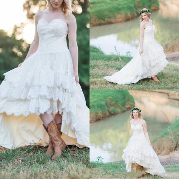 Vintage Sweetheart country Lace Wedding Dresses New 2019 High Low Strapless Tiered Skirt Bridal Gowns Plus Size Wedding Dress Ciustom Made