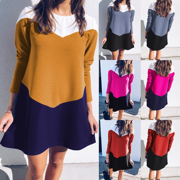 Long Collar Round Sleeves Spell Color Money Dress