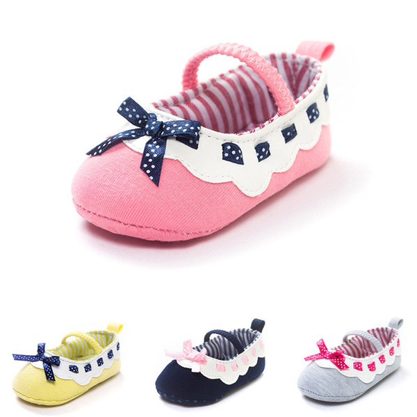 Baby Girls Cotton Fabric Shoes Cute Bowknot Decoration Soft Sole Anti-Slip Baby Priincess First Walkers Shoes