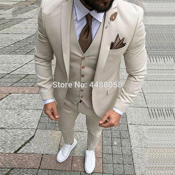 Custom Made Latest Coat Pant Designs Suits Wedding Groom Suits quality Formal Prom Men Dress Suits 3 Peiece (jacket+pant+vest) C18122501