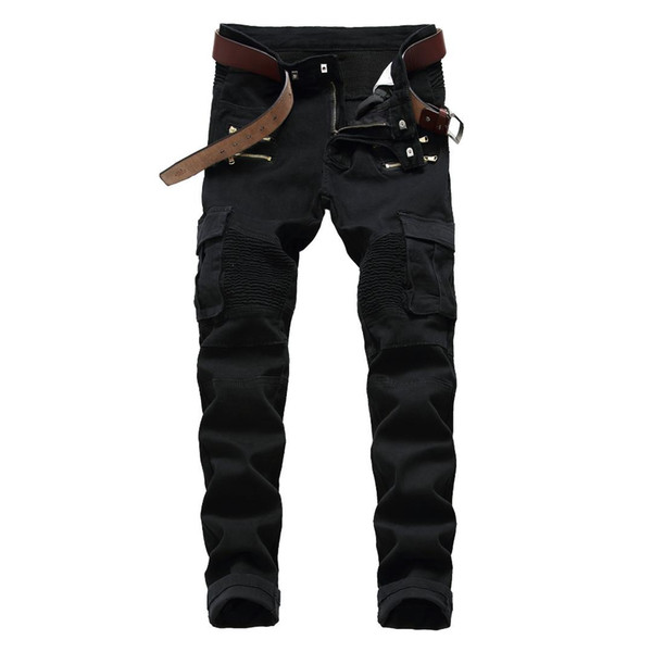 New Men Fashion Slim Mid-Waisted Casual Holes Slim Jeans Cross-Border Foreign Trade Men's Clothing Locomotive Denim Leisure Blac