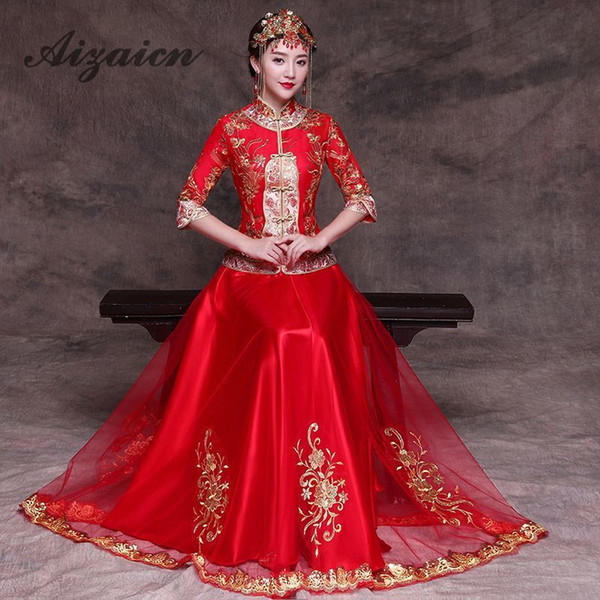 Traditional Chinese Tradition Ladies Cheongsam Qipao Wedding Dress Women Red Long Qi Pao Evening Gown China Bride Traditions