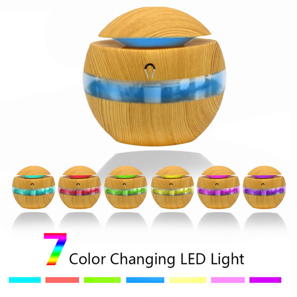top popular 300ml USB Aroma Air Humidifier Wood Grain 7colors LED lights Essential Oil Diffuser Aromatherapy Electric Mist Maker for Home office RRA2194 2021