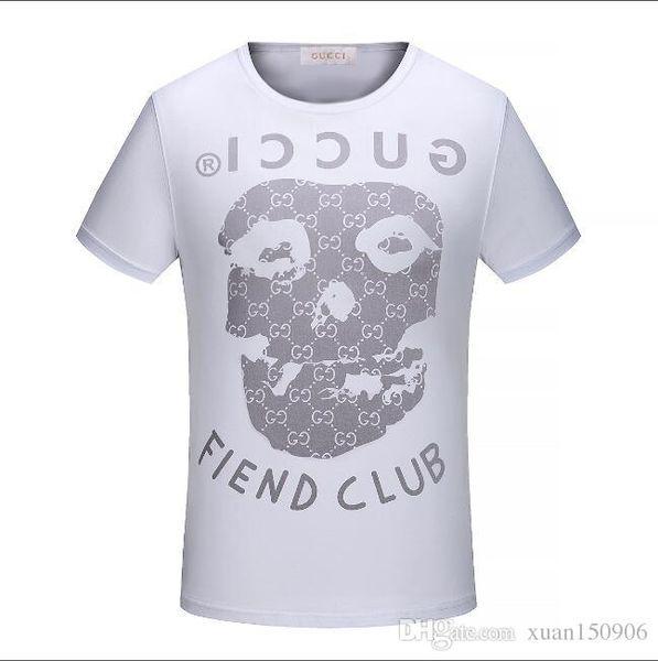 Européens et américains personnalité simple hommes créatifs col rond tête de mort imprimé à manches courtes conception T-shirt T-shirt