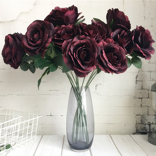Large Roses Branch Luxury Artificial Flowers Fleur Artificielle Home Wedding Decoration Silk Fake Flowers Red White Rose 2heads