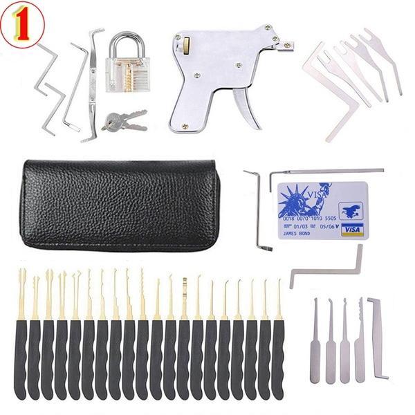 24pcs serrure cadenas cueillette outils outils clé transparente extracteur serrure choisir pistolet ensemble outils de carte de crédit