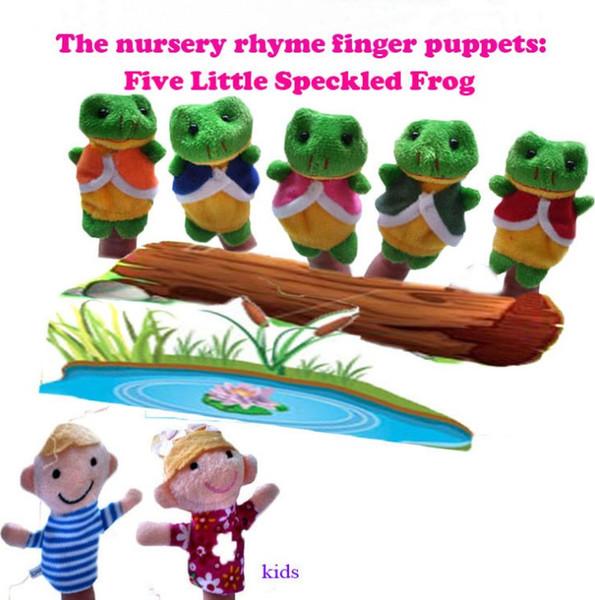 5pcs dedo muñeca de juguetes de peluche de la canción infantil marionetas de dedo canción Cinco poco manchada ranas Niño populares entre los niños