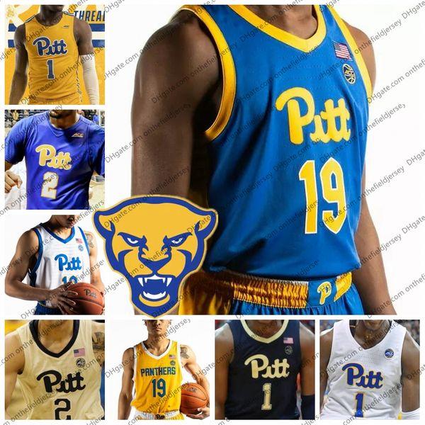 Custom Pittsburgh Panthers New Branding Basketball Jersey Cualquier nombre Número 1 Xavier Johnson 2 Trey McGowens 4 Jared Wilson-Frame PITT S-4XL