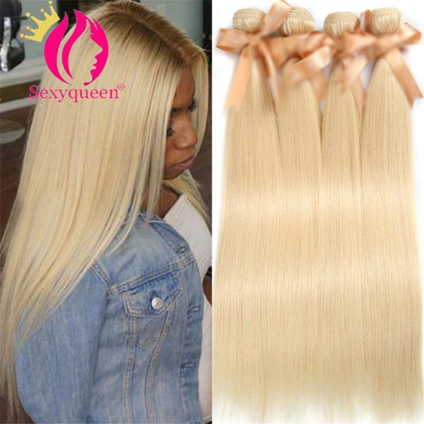 Sexy queen Brazilian Body Wave Remy human Hair Weft 1 PC #613 long blonde Human Hair Weave straight hair Bundles Free Shipping
