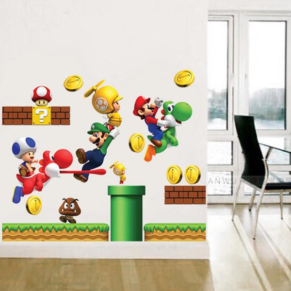 Vinil Removível Adesivos de Parede Adesivo de Decoração Para Casa S GIGANTE Grande Super Mario Bros Crianças Removíveis Adesivos de Parede Caixa de Home
