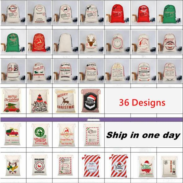 Christmas Gift Storage Bag Canvas Drawstring Candy Toy Pouches Xmas Decoration