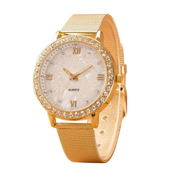 Genvivia Classy Women Ladies Crystal Roman Numerals Gold Mesh Band Wrist Watch Wrist Watch Watches Clock #w35