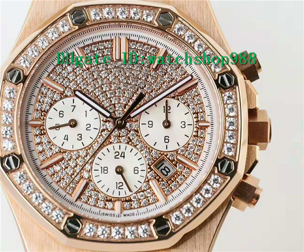 Luxury Watch ROYAL OAK Watch Swiss 9100 Automatic Chronograph Tapisserie Diamond Dial Bezel Sapphire 28800 VPH 18K Rose Gold Stainless Steel
