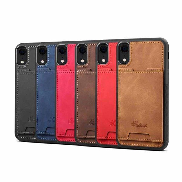 Retro PU Deri Telefon Kılıfları iPhone XR Için Kart Yuvası İş Tutucu Geri Cep Telefonu Çanta Kapak iphone XS Max 8 7 artı X