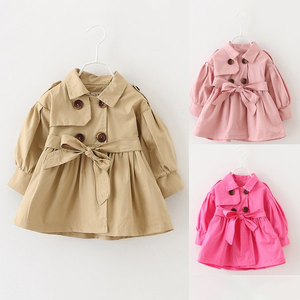 top popular Baby Coats Newborn Baby Girl Clothes Autumn Bow Coat Infant Clothes For Children Outwear Baby Girls Fashion Winter Clothing 2019