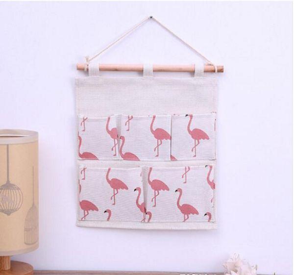 29.5*31CM Ins Creative Flamingo Cotton Linen Door Hanging Bag FIVE Pockets Wall Mounted Storage Bag Sundries Organizer Pouch Waterproof Bag