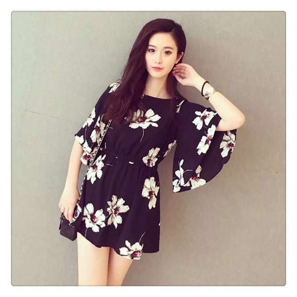 Frauen kleiden Mandarine-Hülsen-Chiffon- Blume gedruckte Kleid-neue moderne elastische Taillen-beiläufige Kleid-süße Art-tägliche Abnutzung