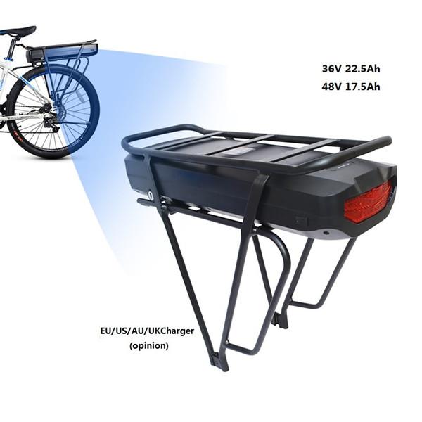 Batteria elettrica 48V 17.5Ah 36V 22.5Ah Batteria a pacco posteriore per BigCapacity Borsa elettronica a pacco eBike US / EU / AU / UK E Caricabatterie bici