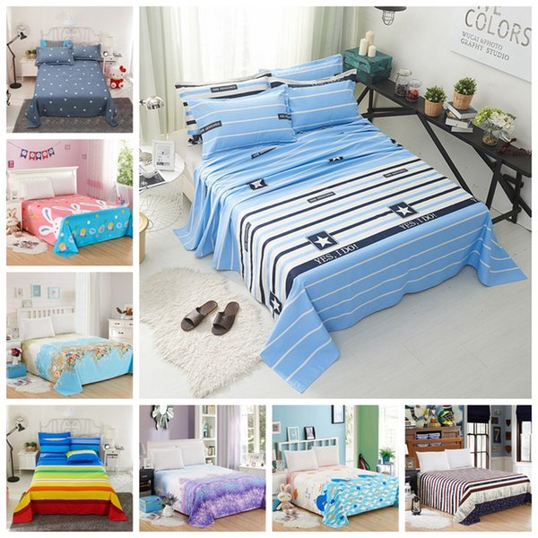 1pcs Flat Sheet Polyester Bed Sheet for Child Kids Adults Bedroom Bed Cover Bedspreads King Queen Size Mattress Protector Covers
