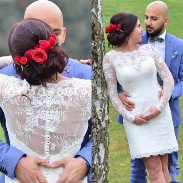 best selling Short Sheath Lace Wedding Dresses Long Sleeve Jewel Neck Mini Bridal Gowns Vestidos de Noiva Custom Size