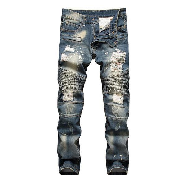 Мужчины Проблемные рваные джинсы модельер Straight Мотоцикл Байкер Причинная Джинсовые брюки Streetwear Стиль Runway Rock Star Jeans Прохладный