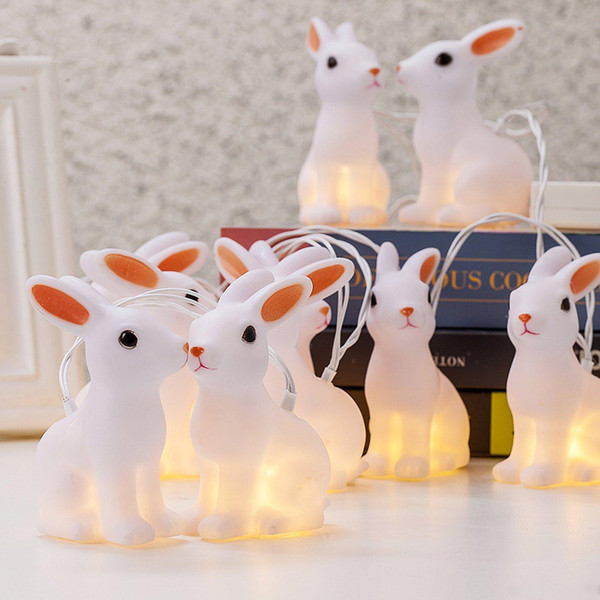 Battery Operated 10 LED Indoor Easter Decorative Bunny String Lights holiday and lighting LED Strings indoor
