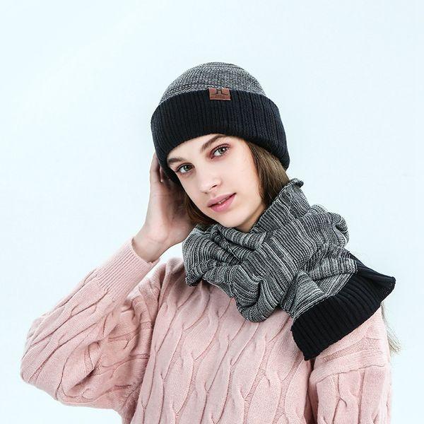 Bonnet doux écharpe Ensembles Mode Femmes Hommes d'hiver Crochet Beanie Chapeaux Outdoor chaud écharpe tricotée Ski Caps TTA1890-11
