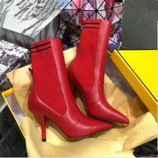 Rockoko Elastic Woman Botines de cuero Botas largas y cortas Sexy para mujer Negro Rojo Marrón Botas sobre la rodilla Vestido Zapatos de boda Zapatos Mujer