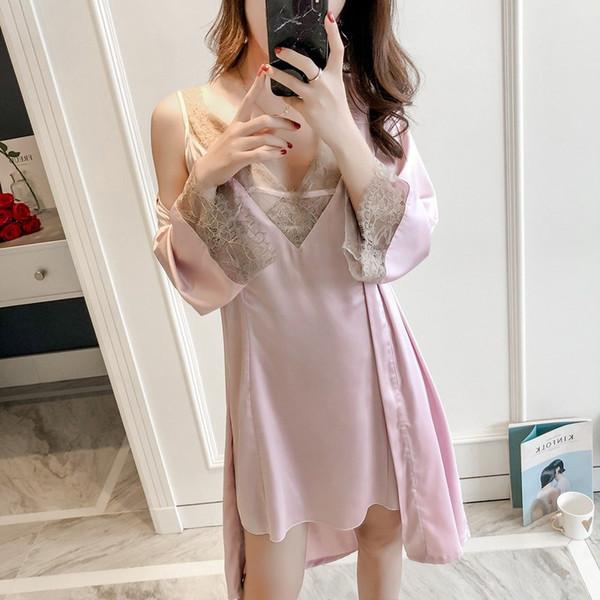 Spring Ice Slik Non Satin Sleepwear Sexy Robe Sets Con scollo a V Spaghetti Cardigan Twinset Pajama Per donne