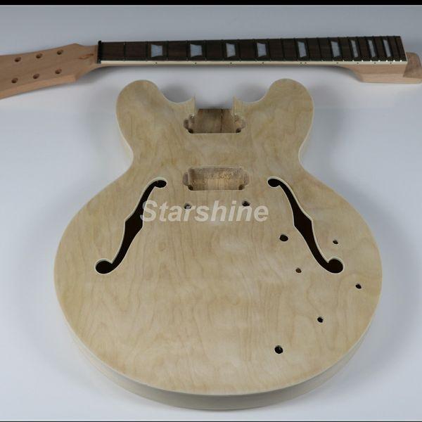 JEN6U003 Kit chitarra elettrica corpo semi-hollow chitarra fai da te chitarra incompiuta chitarra incluso