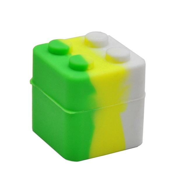 Top Quality Cube Shape Oil Holder Silicone Jars Small Storage Box Dab Wax Vaporizer Oil Container Food Grade Box Dabber Tool