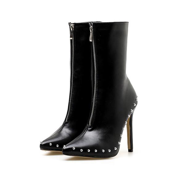 Zapatos blancos femeninos perillas de sauce botas de mujer con zapatos de tacón alto y medias botas temporada para zapatos de mujer XZ-045